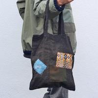 柿渋鉄媒染 ミナペルホネンパッチ コットンリネン トートバッグ oz and made