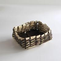 沢胡桃の置きかご 籠 (中型) ステッチ4本編み 小物入れ