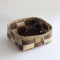 沢胡桃の置きかご 籠 (小物入れ) フトヒゴ市松編み