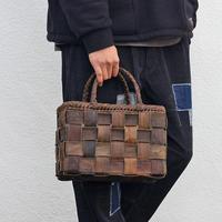 沢胡桃のかごバッグ  裏皮フト編み 横幅29cm 手提げ籠