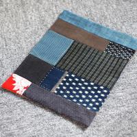 古布襤褸×柿渋染め リメイクのランチョンマット/籠掛け布
