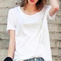 ソリッドカラー ラウンドネック 竹の綿 半袖Tシャツ カジュアルシャツ S M ホワイト