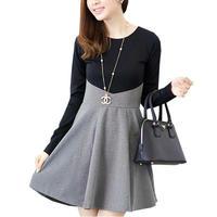 着痩せ シルエット 切り替え 長袖 お嬢様風 スカート ワンピース エレガント スタイル レディース ファッション M L LL XL