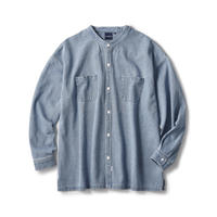 Washed Denim Stand Collar Shirt