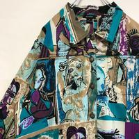 ピカソ Picasso ジャケット シャツ 総柄 コラージュ ビンテージ