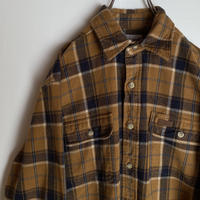 カーハート carhartt チェック 厚手 ネルシャツ レザーロゴ 90s