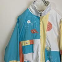 フラワー 刺繍 ジャケット ブルゾン パステルカラー 80s 90s ビンテージ