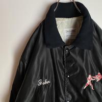 ビンテージ 刺繍 襟付き ナイロンジャケット キルティング 空手 USA製