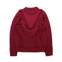 PA8AW-KT05 BRAID FRINGE MINI HIGH-NECK KNIT