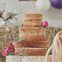 【メール便対応】/【GingerRay/イギリス】木製ケーキトッパー Mr & Mrs [GR0205-BH-771]
