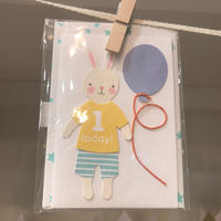 【MeriMeri(メリメリ)】メッセージカードミニ/1st BD バニー [MM0401-11-2295]
