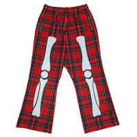 BONE PATCH FLANNEL CHECK TROUSERS