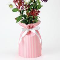 花巾着 (hana kin chaku) |和柄 | M | 棒縞・薄紅