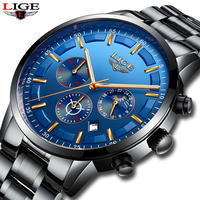 Lige メンズ腕時計 トップブランド クォーツ時計 防水 スポーツ腕時計 42