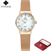 Wwoor ブランド女性腕時計 ローズゴールド 高級クォーツレディース腕時計 ダイヤモンドブレスレット腕時計 152