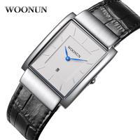 Woonun 男性腕時計 トップブランド 革ストラップ クォーツ長方形 スーパースリム腕時計 108