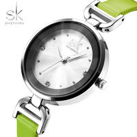 Shengke ブランドレザーストラップ ダイヤモンドクォーツレディース腕時計 ドレス 女の子 178