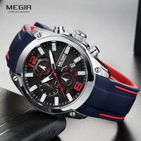 Megir メンズクロノグラフアナログクォーツ時計 防水 シリコーンラバーストラップ wristswatch 発光時計 16