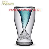 人魚カクテルガラスカップ 100ミリリットル ワイン二重壁 ウイスキー ウォッカ ワイン ショットグラス 1500