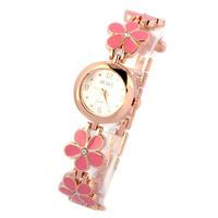 女性腕時計 ギフトレディーガール ファッション時計 ヒナギク花 ローズゴールドブレスレット腕時計 女の子 198