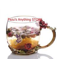 赤いバラ エナメルカップ ロス詩 クリスタルフラワーカップ 耐熱カップ 1542