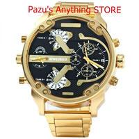 メンズクォーツ時計 男性 ゴールデンスチール時計 バンドデュアル ミリタリー腕時計 スポーツ 1690
