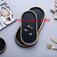 黒とゴールデン ストロークセラミックプレート 料理磁器 ディナーデザートプレート 1559