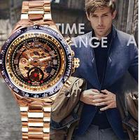ベゼルゴールデン腕時計 メンズ腕時計トップブランド高級時計 スケルトン腕時計 10 7/9