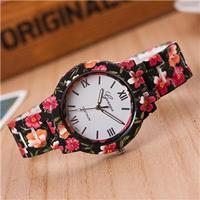 プリントジュネーブ花腕時計 プラスチックバンド ヴィンテージレディースアナログクォーツ腕時計 169