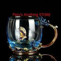 ティーカップガラス エナメル 高級ヴィンテージコーヒーカップ クリスタルワイン 金属彫刻 ギフト 1506