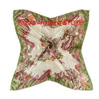 女性 ヘッドスカーフ 柔らかい サテン 正方形スカーフ ショール 花柄 バンダナ 1630