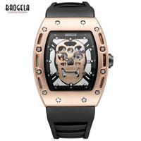 Baogela 海賊スカルスタイルクォーツメンズ腕時計 軍事 シリコーンスポーツ腕時計 防水 96