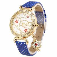 ブレスレットヴィンテージ レトロなブレスレット腕時計 女性フラワーラインストーン クォーツドレス腕時計 182