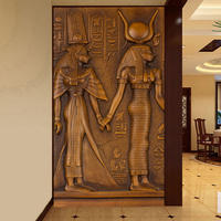 3D 壁紙 ステレオエンボス加工 エジプト ファラオと女王 背景 ヨーロッパスタイル ヴィンテージ ホテル 545 7/17