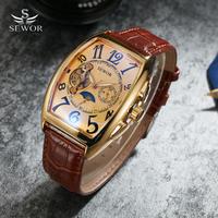 Sewor トノー機械式腕時計 トゥールビヨン腕時計 ムーンフェイズカレンダービジネスドレス古典時計 69