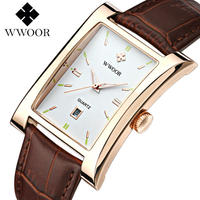 Wwoor ブランド高級 クォーツ時計 防水 本革カジュアルスポーツ腕時計 アナログ時計 38