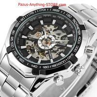 スケルトンメンズ腕時計 シルバー 時計 機械式時計 メンズ 1697 9/25