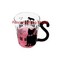 かわいい猫ガラス マグカップ ティーカップ ミルクコーヒーカップ ドット ハンドル付き ギフト 1499