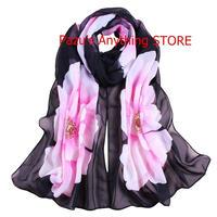 女性スカーフ 柔らかいスカーフ ビッグフラワープリント ショール 1619