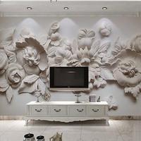 カスタム写真壁紙 ヨーロッパスタイル 3D 立体花壁壁画紙 リビングルーム ベッドルーム ベッドサイド壁画  504
