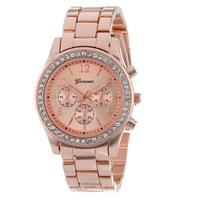 Lovesky ファッションフェイククロノグラフメッキクラシック ジュネーブ石英女性腕時計 クリスタル腕時計 166