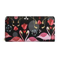 Badiya 女性 フラミンゴ花柄 ロング財布 大容量 クラッチ 569