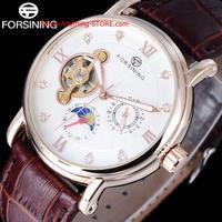 男性 ムーンフェイズ腕時計 機械式ドレスウォッチ ローマラインストーン ローズゴールド時計 1747 9/25