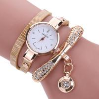 女性腕時計 ファッションカジュアルブレスレット腕時計 ラインストーンアナログクォーツ腕時計 155
