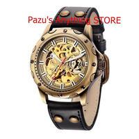 レトロ ブロンズスケルトン機械式腕時計 メンズ スポーツ レザー腕時計 男性時計 1692 9/25