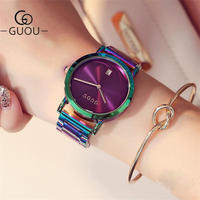 Guou 女性ファッション カラフル ステンレス鋼 レディース腕時計 137