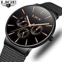 メンズ腕時計 Ligeトップブランド 高級防水超薄型日付時計 男性 鋼ストラップ カジュアルクォーツ時計 スポーツ 14