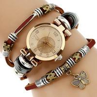 Gnova プラチナ 女性 プレミアム本革時計 トリプルブレスレット腕時計 蝶チャーム腕時計 149
