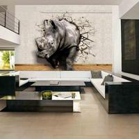 3D ライフアニマル プリント壁画 ライオン 象 サイ 不織布 寝室の壁画 515 7/17