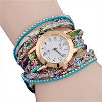 高級ファッション女性腕時計 クォーツ女性 バンドワインディングアナログクォーツムーブメント腕時計 196
